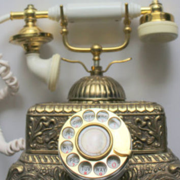 Vintage Ornate French Style Brass Rotary Phone