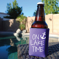 On Lake Time Beer Koozie. Nautical Koozie. Insulated Beverage Holder. Boat Koozie. Black Koozie. Purple Koozie. Yellow Koozie. Teal Koozie.