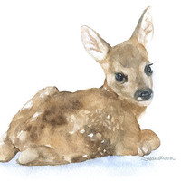 Watercolor Painting Deer Fawn Laying Down Fine Art Giclee Print 5 x 7 Nursery Art