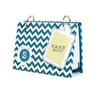 Pocket index card binder, choice of colors, turquoise chevron pattern and monogram gift set, recipe binder with tabbed dividers