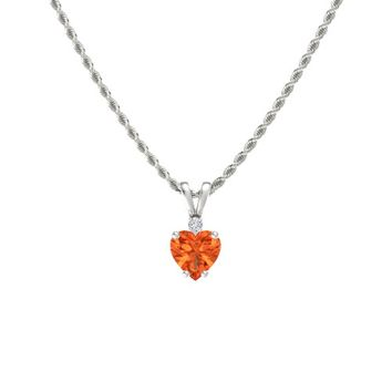 Heart Fire Opal Sterling Silver Pendant with Diamond