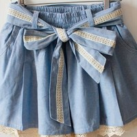 Fresh blue bowknot  shorts  from Fanewant