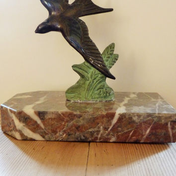French Art Deco Bronze signed Tedd , Swallow figurine