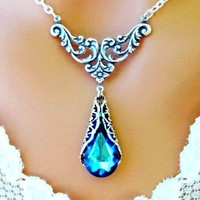Bermuda Blue Victorian Necklace Peacock Antiqued Silver Wedding - Wedding Jewelry | Handmade