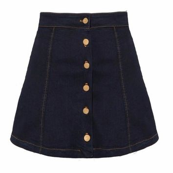 Denim Button Down Mini Skirt