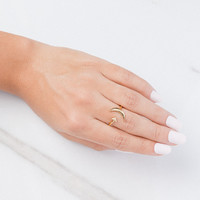 To The Moon & Back Dainty Arrow Moon Ring | Bryan Anthonys