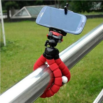 Phone Holder +Mini Flexible Octopus Tripod Bracket Stand Mount Monopod Adjustable Accessories For iphone Camera