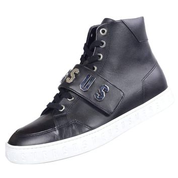 Versace Strap Leather High Top Black/White Sole Trainer