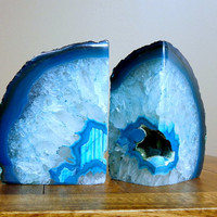 Agate Bookends half Geode Rock Formation - Gorgeous Book Ends (RK13-02)