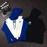 """"""" PUMA """"Fashion Blue Hooded Fashion Top Sweater Pullover Hoodie"""