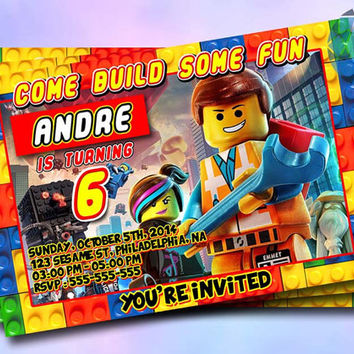 Lego Movie Design For Birthday Invitation on SaphireInvitations