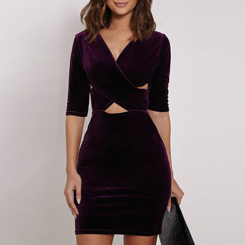 Cutout Crisscross Front Bodycon Dress