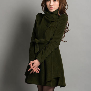 Army Green Jacket Fitted Cashmere Spring Autumn Coat For Women