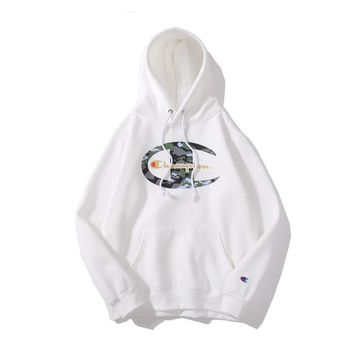 Champion autumn and winter tide brand big C camouflage gilded plus velvet hoodie White