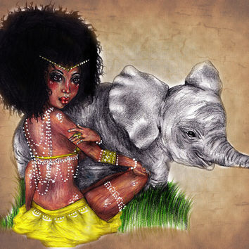 African Princess Stretched Canvas by Krista Rae