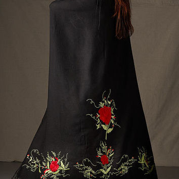 Native American Fancy Dance Shawl in Black with Red Roses