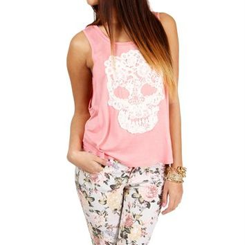 Pink Lace Skull Tank Top