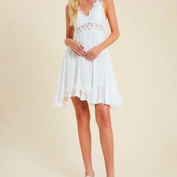 Speechless Scalloped Lace Bralette Mini Dress in Ivory