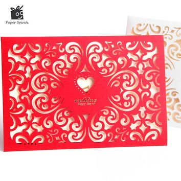Wedding Invitation Cards Laser Cut 3d Anniversary Lace Custom Pocket Blank inside with Envelope Vintage Romantic Paper CW1025