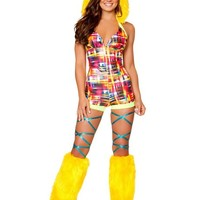 Metallic Neon Plaid Romper with Fur Trimmed Hood : Cute Furry Rave Costumes