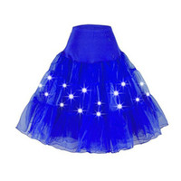 MOONIGHT Fancy Women Sexy LED Light Up Tutus Halloween Stage Dance Wear Solid Party Super Mini Skirt