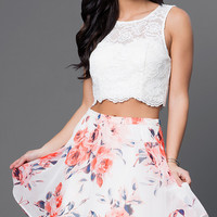Short Sleeveless Two Piece Dress with Print Skirt by As U Wish