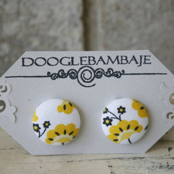 Yellow Ginkgo Flower Design- Sunshine Yellow Black Flowers with White Fabric Button Earrings - Enchanted Line Summer  by DoogleBambaje