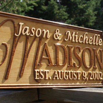 Personalized Wedding Gift Last Name Established Sign Family Name Signs Custom Wood Sign Carved Wood Sign 3D Anniversary Gift