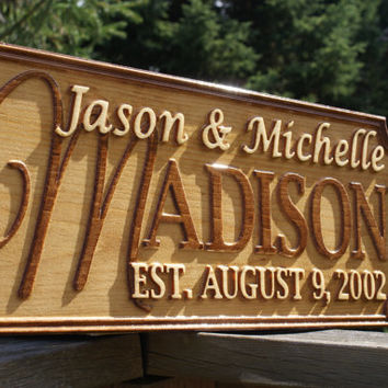 Personalized Wedding Gift Last Name Elished Sign Family Signs Custom Wood Carved