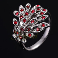 Red Rhinestone Phoenix Ring