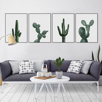 4PCS Watercolor Flower Green Stray Cactus Painting Canvas Art Print Poster Bedroom Wall Pictures Home Decor Painting No Frame