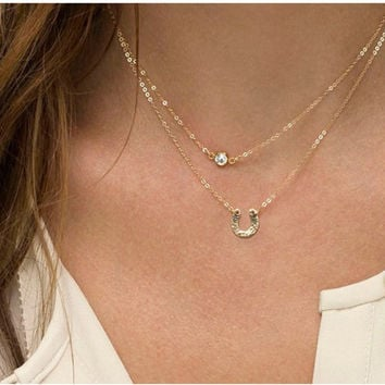 Crystal Fashion Vintage Stylish Chain Simple Design Necklace = 4831045188