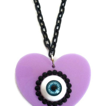 Pastel Goth Eyeball Necklace - Laser Cut Acrylic Lilac