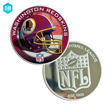 WASHINGTON REDSKINS American Football Team Challenge Coin 999 Silver Plated Metal Coin Art Ornament for Birthday Gifts