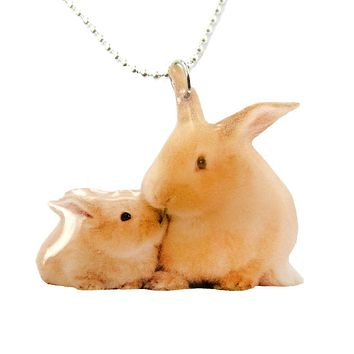 Realistic Mother and Baby Bunny Rabbit Animal Shaped Pendant Necklace | Handmade