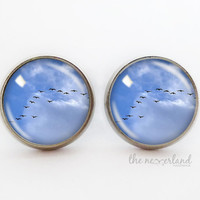 Birds stud earrings, autumn jewellery, gift for woman, glass cabochon jewelry by The Neverland