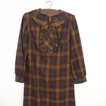 plaid 60s shift dress XS // peter pan collar with ruffled neck tie // vintage MOD