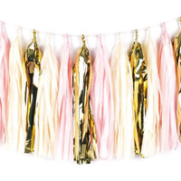 Shiny Blush Tassel Garland - Tissue Paper Tassel Garland - Gold, Blush Pink - Party Decoration // Wedding Tassels // Nursery Decoration