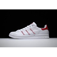 Adidas Originals Stan Smith Shoes Design Red Yarn-embroidered zigzag 3-Stripes