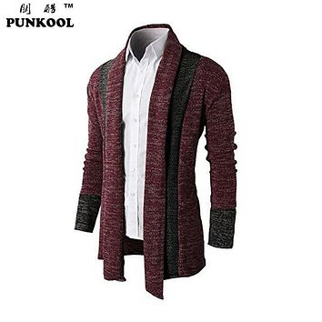 PUNKOOL Mens Cardigans Autumn Shawl Collar Cardigans Mens Sweater Korean Style Slim Fit Long Sleeve Knitted Mens Cardigan