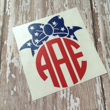 American Flag Monogrammed Bow Decal | Bow Monograms | Bow Vinyl Decals | Patriotic Decal | Patriotic Monograms | Preppy Bow Monogram |