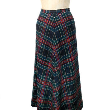 1970s Plaid Maxi Skirt / Agile Florence Walsh / Hostess Skirt / Fall Winter / Holiday Skirt / Wool / Womens Vintage Skirt / Size 6