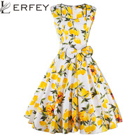 Women Dress Retro Vintage 50s 60s Rockabilly Floral Swing Summer Pleated Dresses Elegant Bow-knot Tunic Vestidos