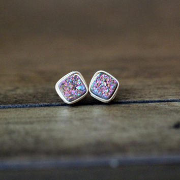 Druzy Diamond Drilled Studs - Unicorn