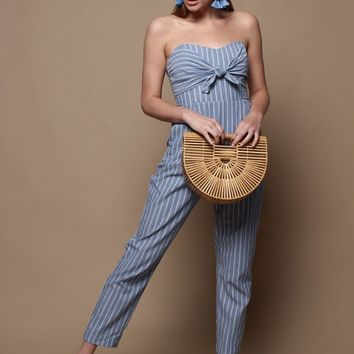 Strappy Tie Front Denim Jumpsuit