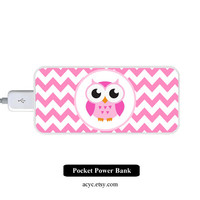 Pink Chevron OWL Power Bank External Battery Charger for iPhone and Samsung Andriod