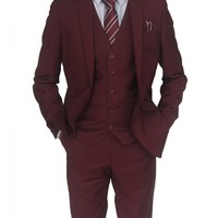 Mens designer Wine Three Piece Suit (Rex)