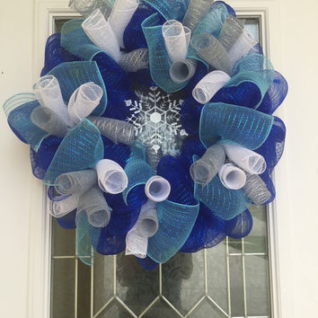 Christmas Wreath - Blue White Silver Wreath - Spiral Wreath - Snowflake Wreath- Deco Mesh - Holiday Home Decoration - Christmas Decor
