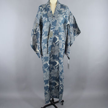 SALE - 1930s Vintage HEMP Kimono Robe / 30s Blue Wedding Dressing Gown Lingerie / Downton Abbey Art Deco / Blue Shibori Floral