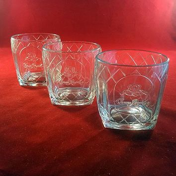 Crown Royal Canadian Whiskey Glasses, Embossed Church Panes Bar Glasses  S/3